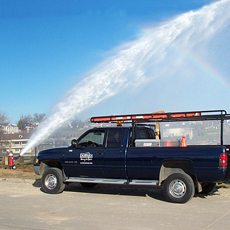 picture of truck and hydrant flushing