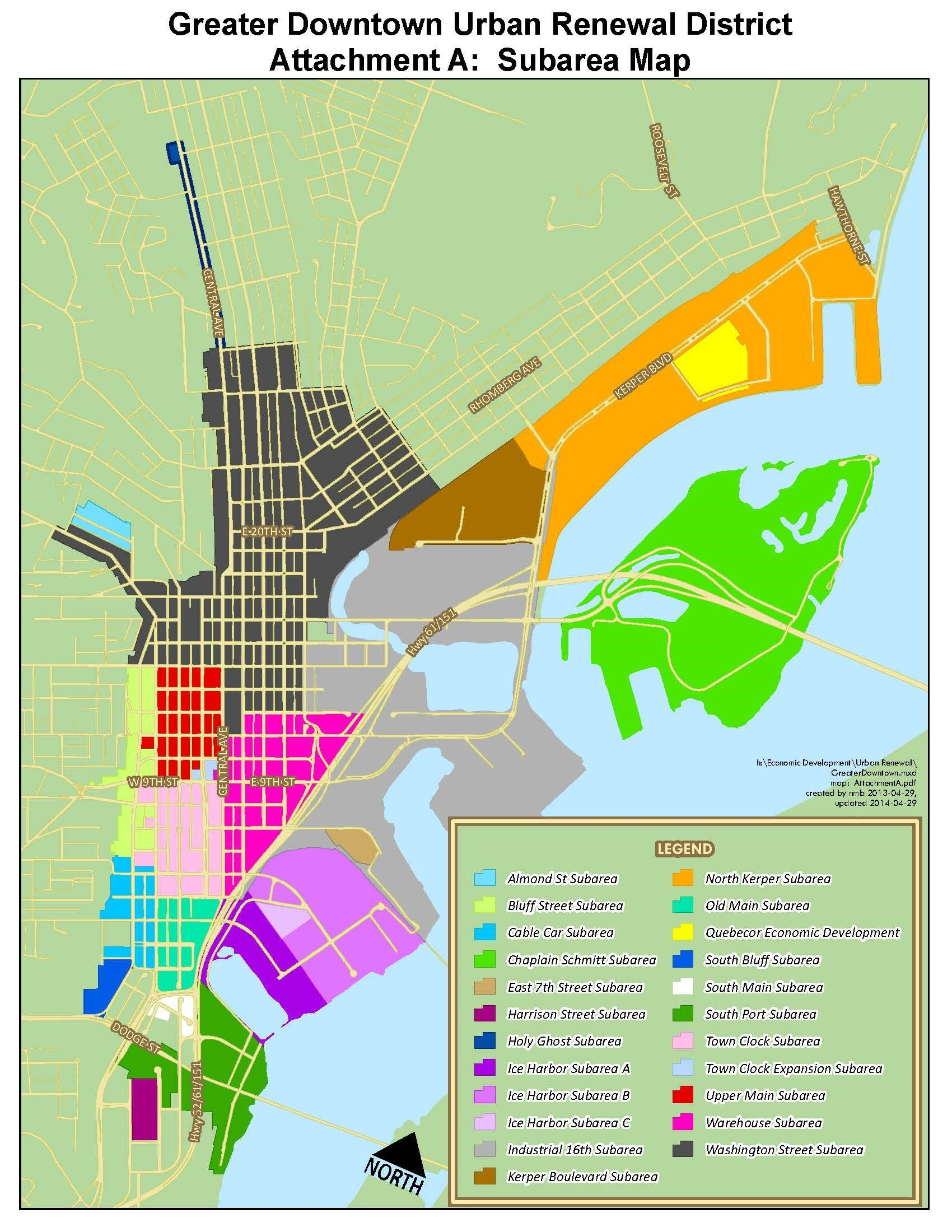 Downtown Urban Renewal District Subarea Map