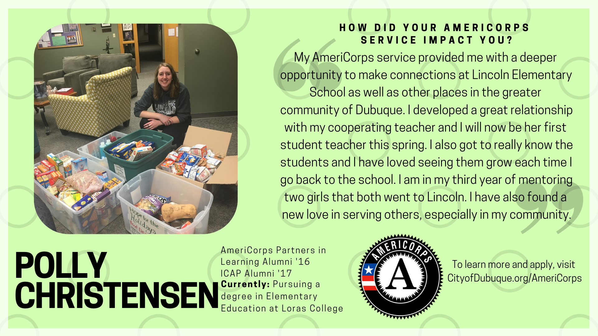My AmeriCorps service provided me with a deeper opportunity to make connections at Lincoln Elementar