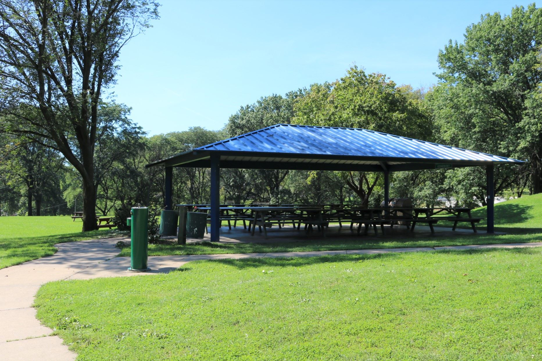 Steel Open Air seating: 70 people; price: $70.00. Handicapped accessible, 15 amp electricity, locate