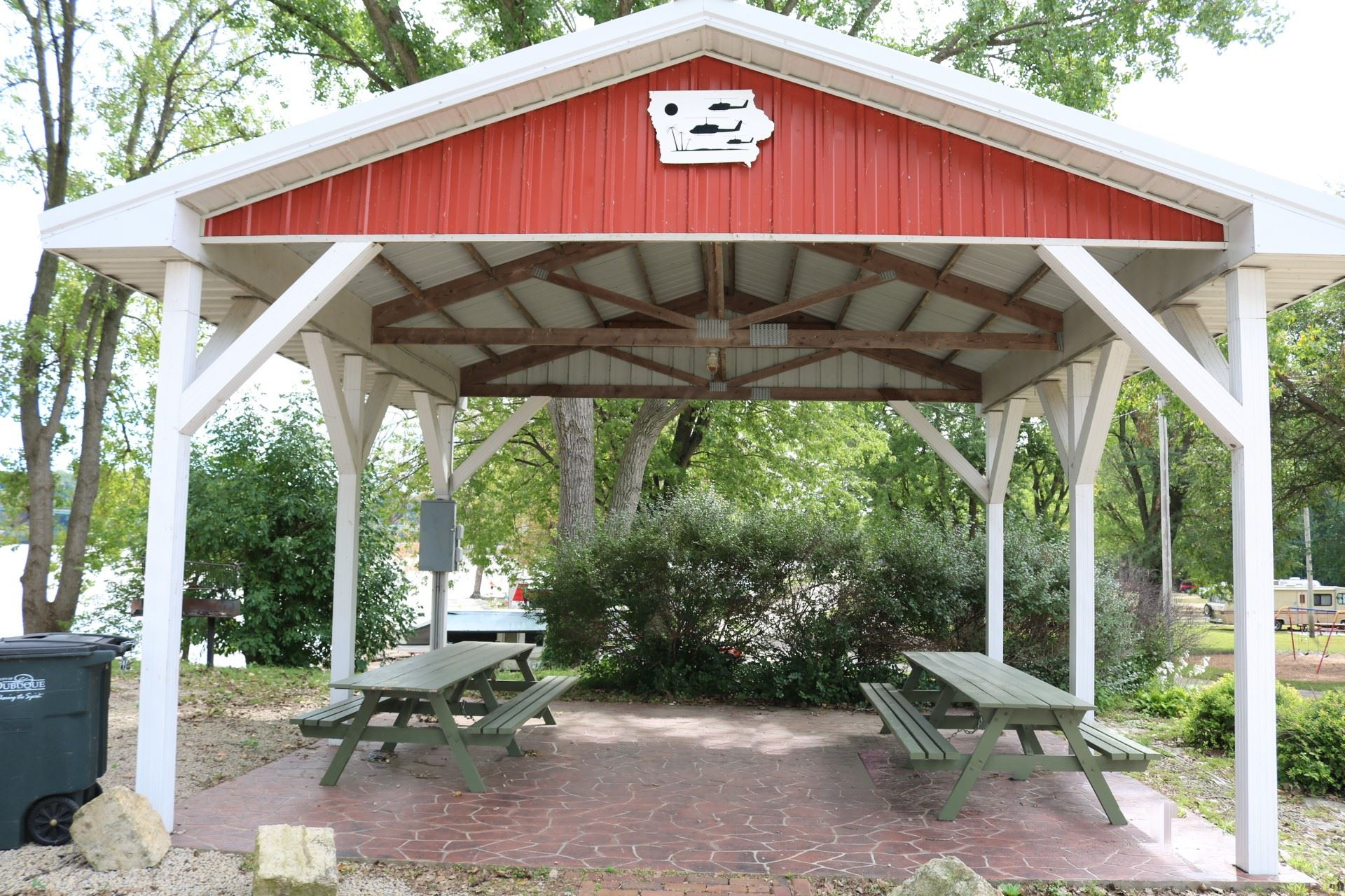 Iowa Pavilion seating: 24 people; price: $20.00. Handicapped accessible, 15 amp electricity, picnic