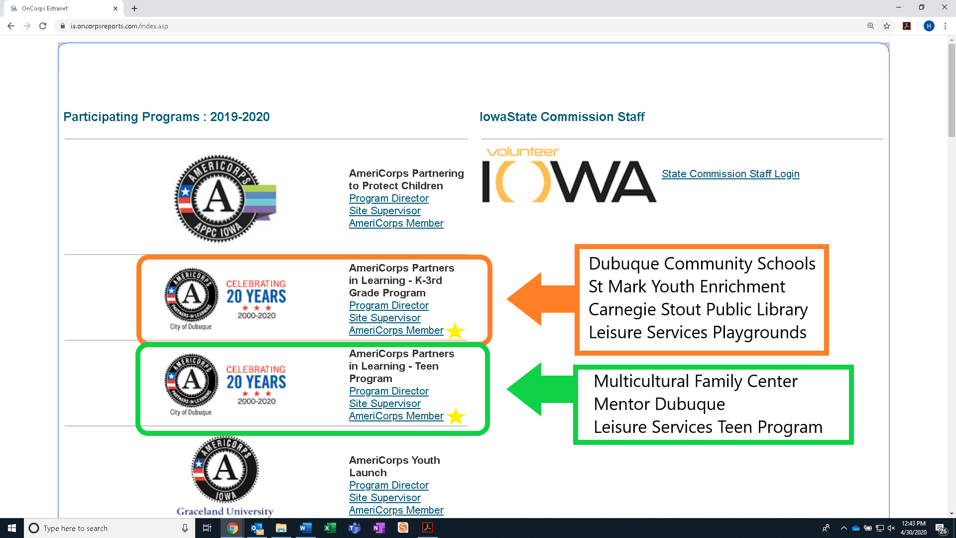 Oncorps program page screenshot with arrows