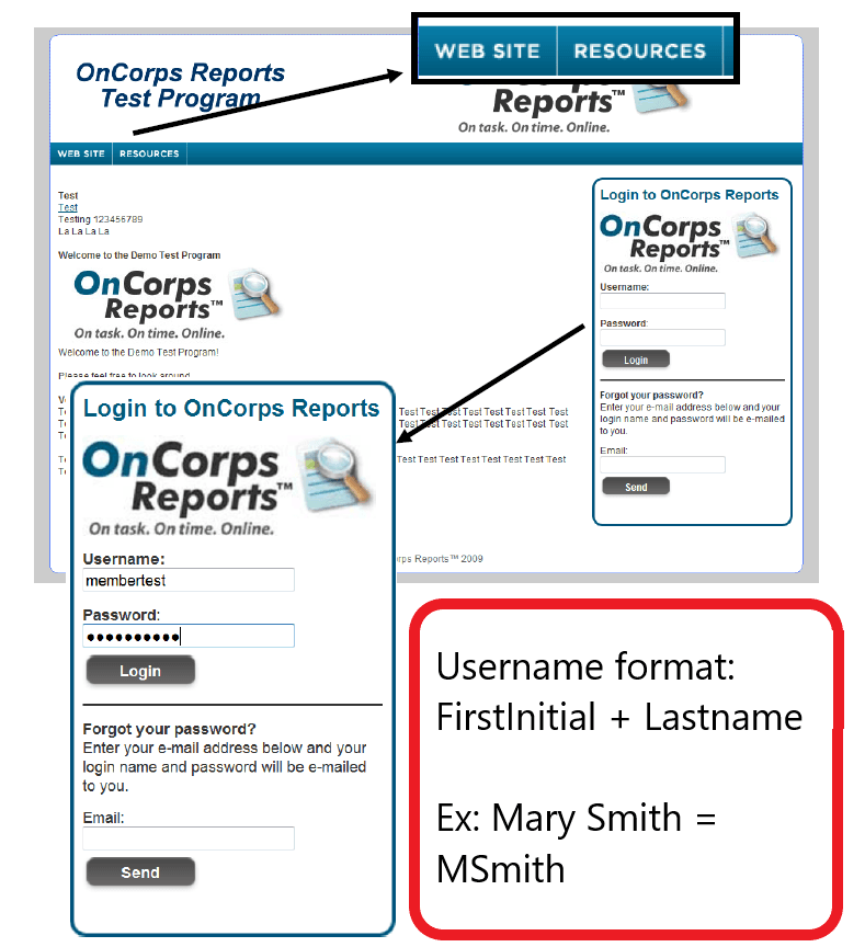 oncorps login page screen shot
