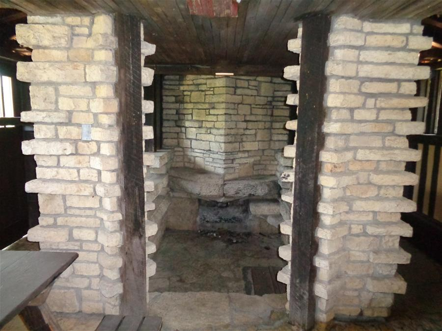 Fireplace in back